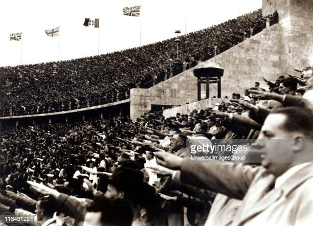 Crowd gives the Nazi salute during the 1936 Berlin Olympic Games