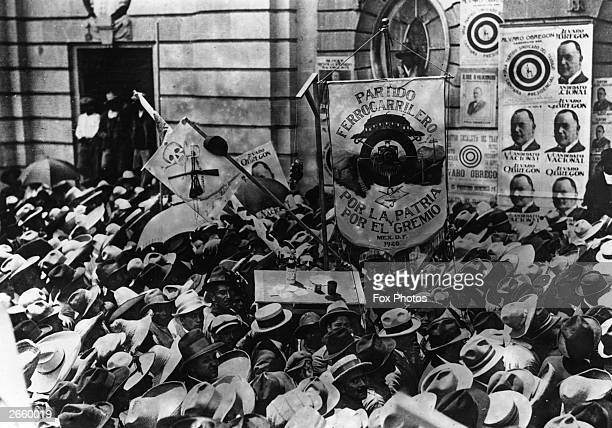 Crowd greet the former President Obregon of Mexico as he arrives in Mexico City He was reelected in 1928 and assassinated a few weeks later