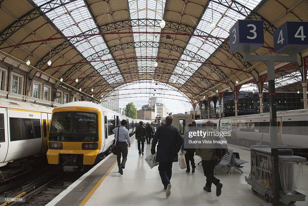 Crowd in a train station : Stock Photo