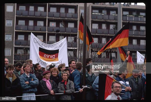A crowd in Dresden welcomes a visit from Chancellor Kohl shortly after the fall of the Berlin Wall in 1989