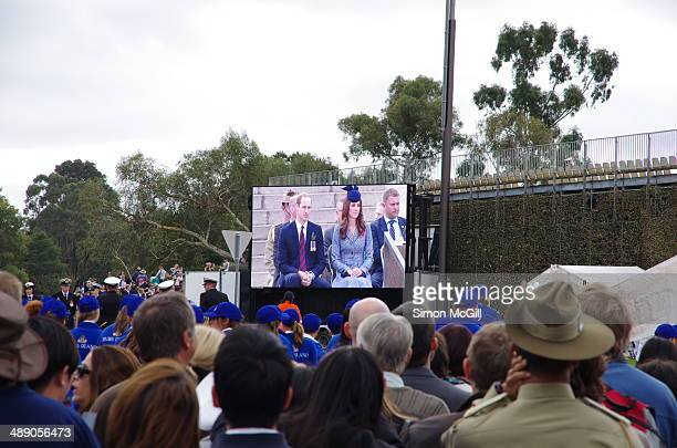 Crowd in front of Australian War Memorial watch the ANZAC Day ceremony attended by the Duke Duchess of Cambridge Canberra 25 April 2014