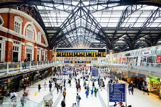 Crowd in Liverpool Street Railway Station, London - England