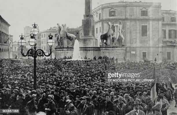 Crowd in Piazza del Quirinale fascist parade on October 31 Rome March on Rome Italy from L'Illustrazione Italiana Year XLIX No 45 November 5 1922