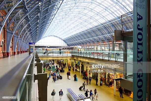 Crowd in St Pancras Railway Station, London - England