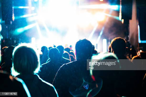 crowd in the rain at outdoor music show - concert hall stock pictures, royalty-free photos & images
