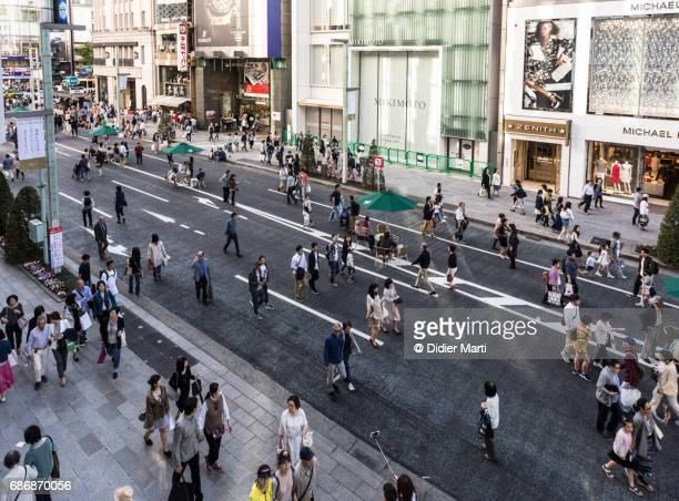 Crowd in the streets of Ginza in Tokyo, Japan
