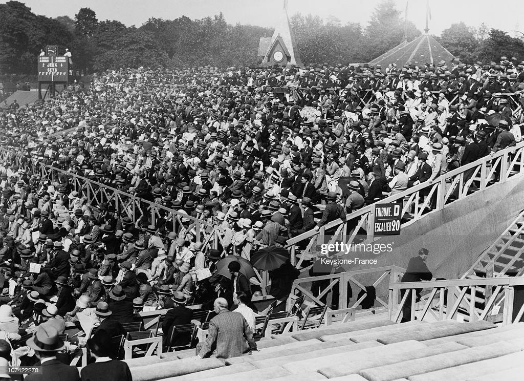 Crowd In Tribune At Roland Garros Stadium In Paris