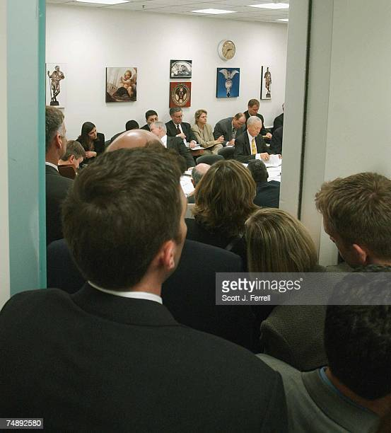 Crowd jams a doorway to the small room where the House Judiciary/Senate Judiciary joint conference meets on the Child Abduction Prevention Act.