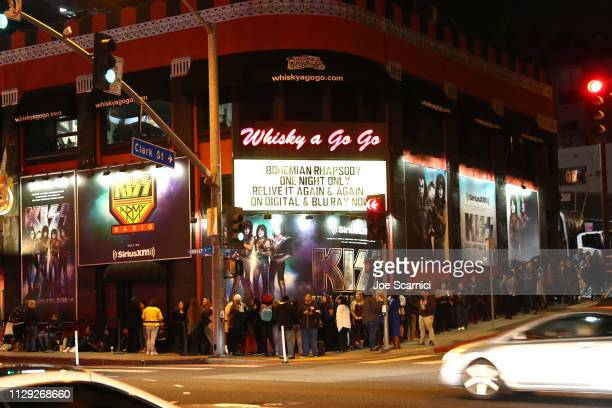 A crowd lines up to attend Bohemian Rhapsody's Get Loud Extravaganza at Whiskey a Go Go on February 12 2019 in Los Angeles California