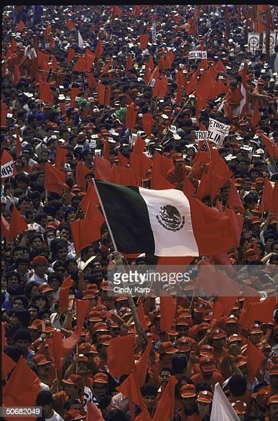Crowd listening to PRI Presidential candidate Carlos Salinas de Gortari speak at a PRI campaign rally.