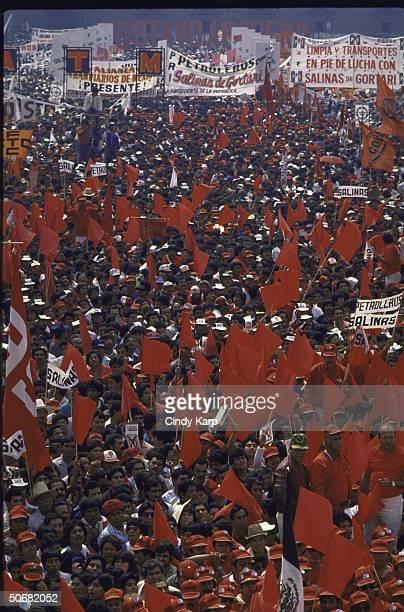 Crowd listening to PRI Presidential candidate Carlos Salinas de Gortari speaking at a PRI campaign rally