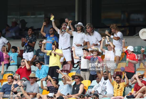 Crowd look on during day two of the 4th Test Match in the series between Australia and India at The Gabba on January 16, 2021 in Brisbane, Australia.