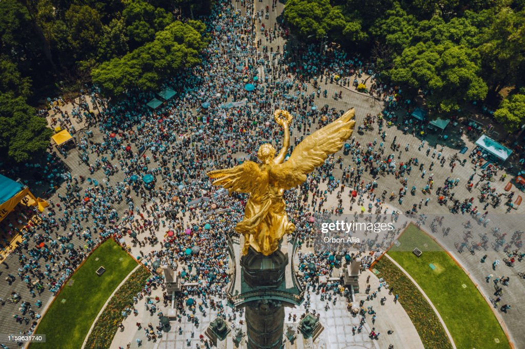 Crowd Marching in Mexico City. : Stock Photo