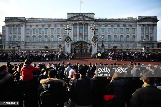 Crowd near Buckingham Palace during Changing of the Guard ceremony in London Great Britain on December 11 2019