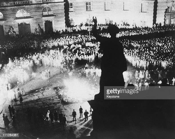 A crowd of 40000 people watch 'unGerman' books by authors not considered to conform to Nazi ideaology being burned in the Opernplatz Berlin 10th May...