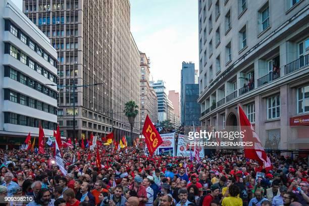 A crowd of 70000 listen to former President Luiz Inacio Lula da Silva speak in the center of Porto Alegre Brazil on January 23 2018 Lula was...