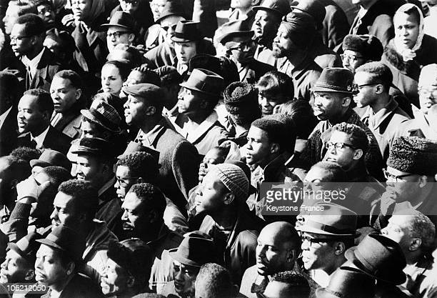 Crowd Of African Americans Attending The Funeral Ceremony Of Their Leader Malcolm X In New York On March 6 1965 A Militant In Favor Of The Black...
