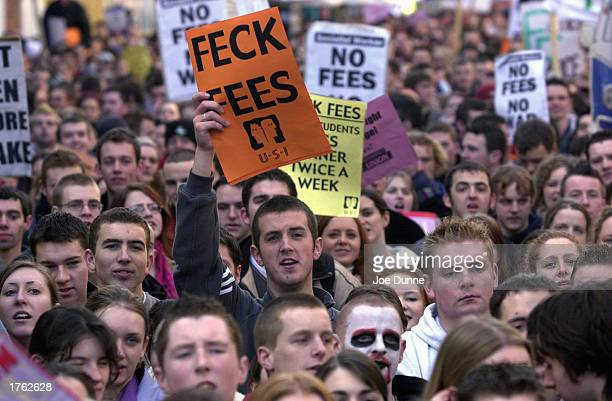 A crowd of approximately 5000 students marches in a protest toward Leinster House February 5 2003 in Dublin Ireland The students were protesting the...