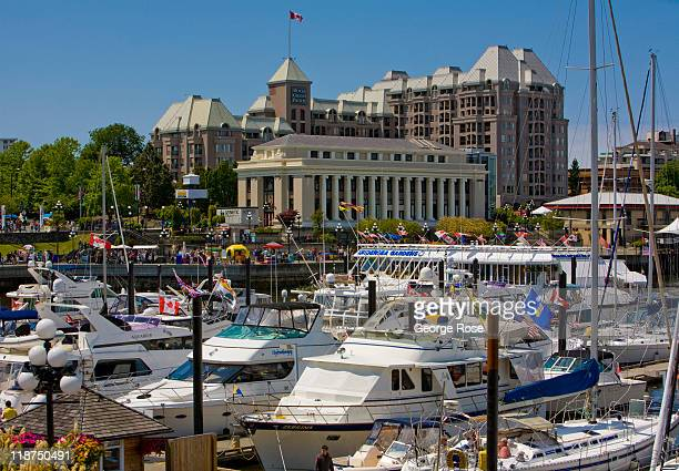A crowd of boats gather in the inner harbour in anticipation of Canada Day festivities on July 1 2011 in Victoria British Columbia Canada The...