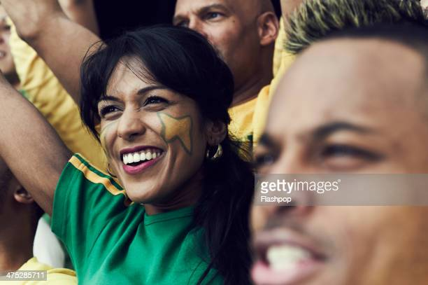 crowd of brazilian fans cheering - sports event stock pictures, royalty-free photos & images