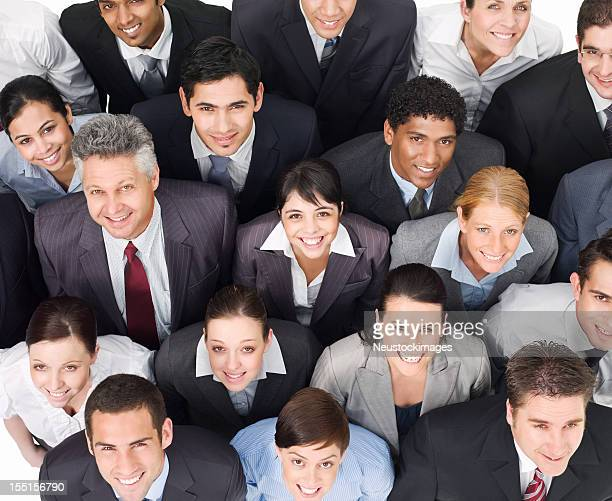Crowd of Businesspeople Smiling