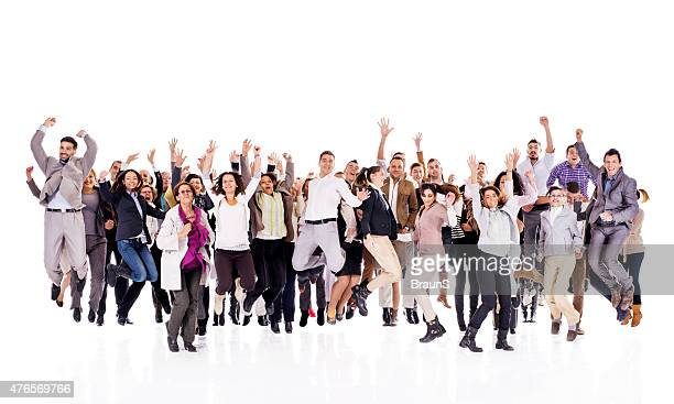 Crowd of cheerful business people jumping with raised arms.
