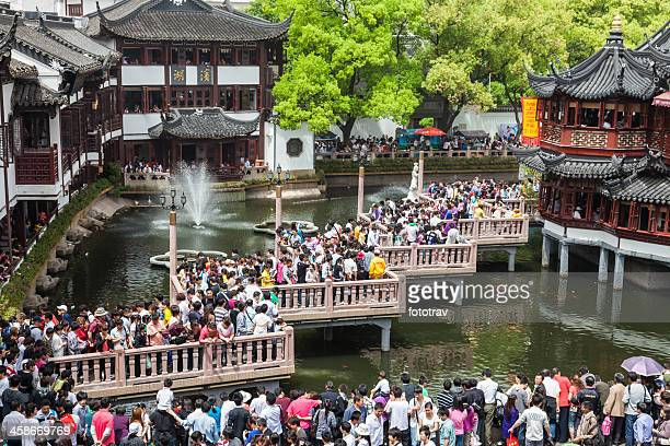 Crowd of Chinese tourists, Shanghai, China