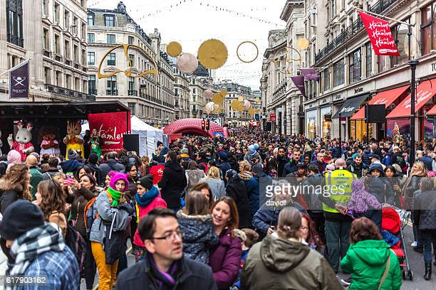 Crowd of Christmas Market Shoppers on Oxford Street in London