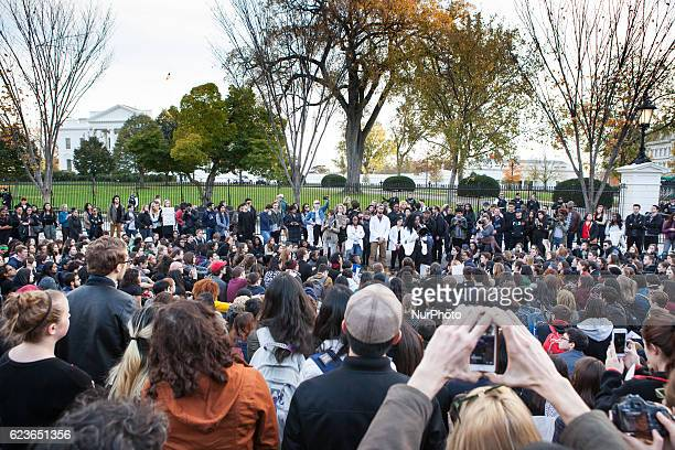 A crowd of college students protest the election of Donald Trump in front of the White House in Washington DC US on Tuesday Nov 15 2016 About a...