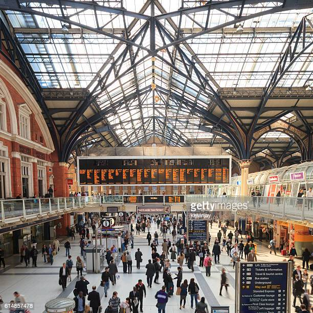 Crowd of commuters at Liverpool Street Station in London