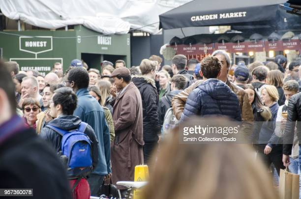 Crowd of customers at the Camden Lock Market, London, England, October 28, 2017.