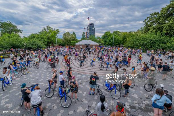 Crowd of cyclists at the rally in Bushwick. Hundreds of cyclists congregated at Maria Hernandez Park in Bushwick for a Black Lives Matter Pride bike...