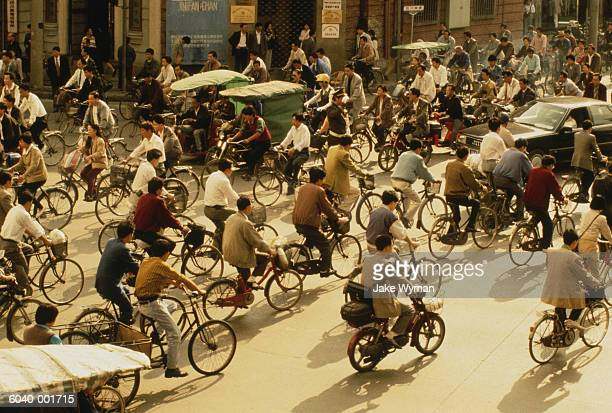 Crowd of Cyclists in Street