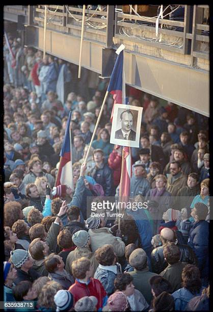 A crowd of Czechoslovakians attend a rally supporting Alexander Dubcek as the next president of Czechoslovakia