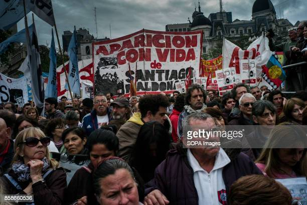 CAPITAL BUENOS AIRES ARGENTINA A crowd of demonstrators are seen gathering to protest against the disappearance of Santiago Maldonado since 1 August...