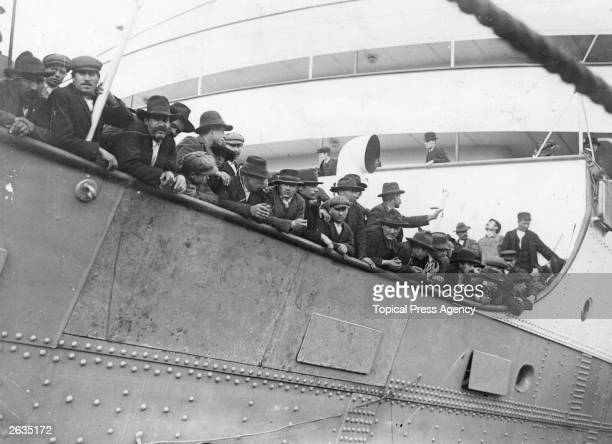 A crowd of emigrants line the decks of the Royal Edward as it departs for Canada on its maiden voyage from Avonmouth dock