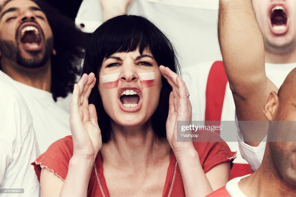 Crowd of England fans at sporting event : Stock Photo
