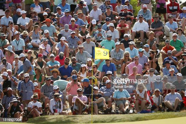 Crowd of fans look on to the ninth green during the third round of the 2021 PGA Championship at Kiawah Island Resort's Ocean Course on May 22, 2021...