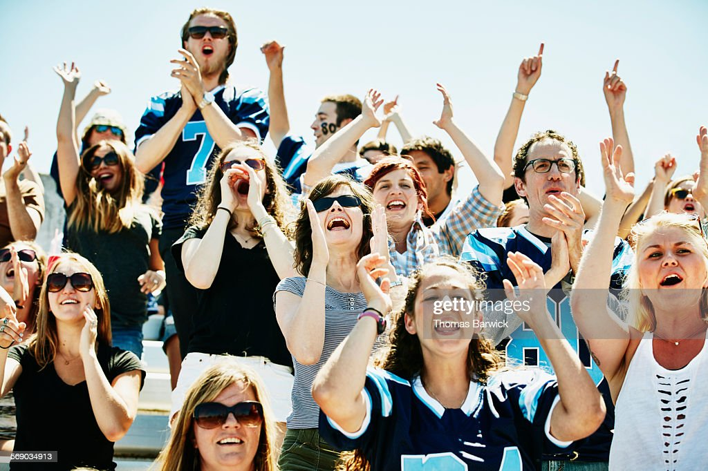 Crowd Of Football Fans Cheering In Stadium Stock Photo Getty Images