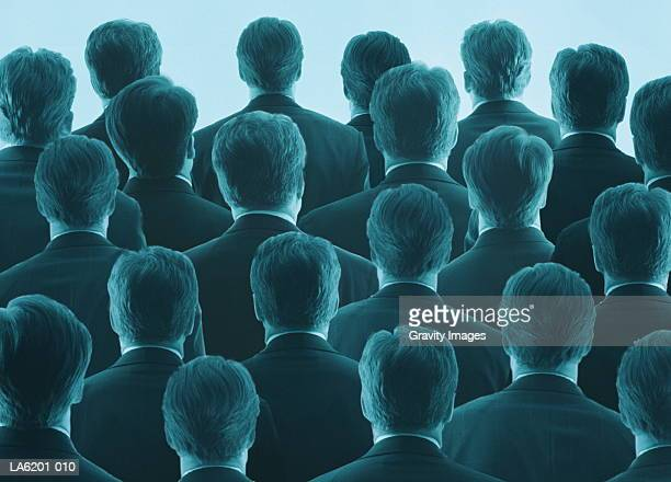 Crowd of male executives, rear view (Digital Enhancement)