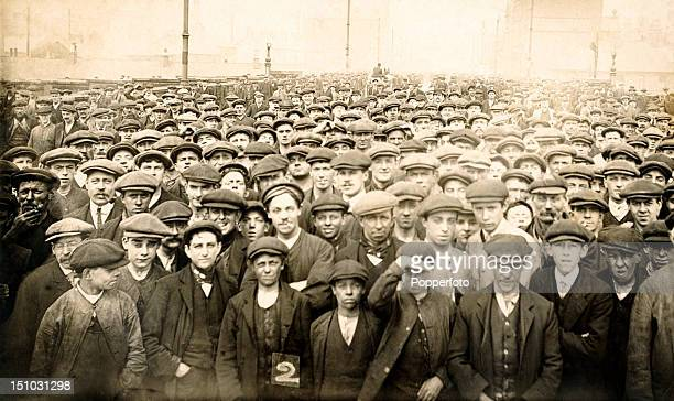 Crowd of men in BarrowinFurness taking part in the Engineering Industry lockout and strike which took place between July 1897 and January 1898 The...