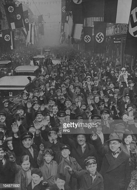 A crowd of Nazis after hearing the result of plebiscite in the street of Saarbrucken in Germany on January 15 1935
