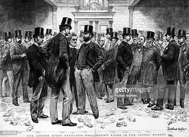 A crowd of notable Victorian gentlemen gathered in the London Stock Exchange A life drawing by Lockhart Bogle Original Publication The Graphic Well...