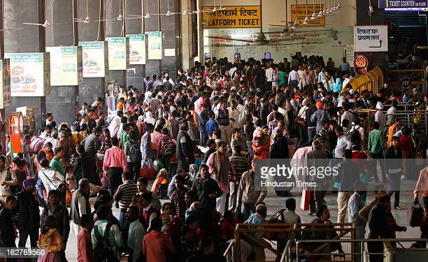 Crowd of passengers at New Delhi Railway Station on February 26 2013 in New Delhi India Indian Railway Minister Pawan Kumar Bansal presented his...