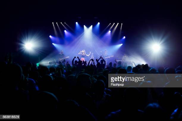 crowd of people at music concert - konzert stock-fotos und bilder