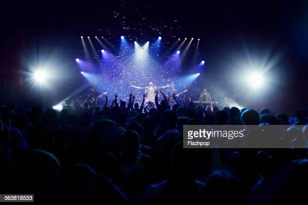 crowd of people at music concert - arts culture and entertainment stock pictures, royalty-free photos & images