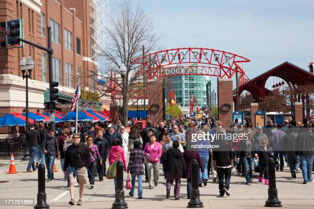 crowd of people at navy pier in chicago - navy pier stock pictures, royalty-free photos & images