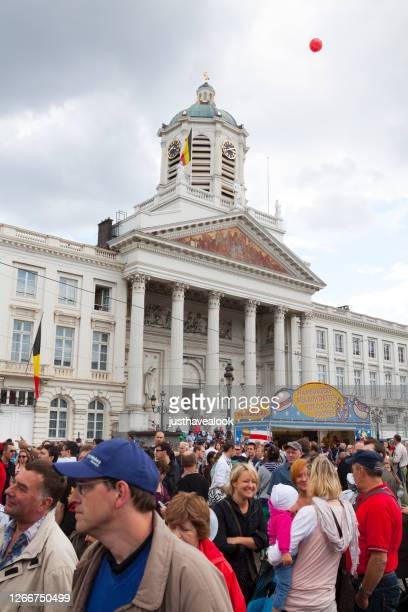crowd of people at place royale in brussels at national holiday - capital region stock pictures, royalty-free photos & images