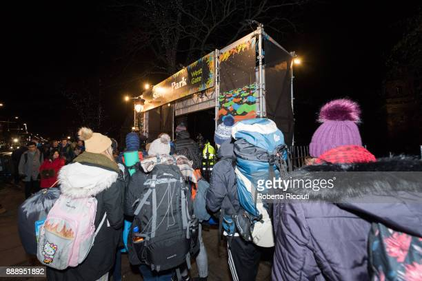 A crowd of people attend at the west gate to enter into Sleep In The Park a Mass Sleepout organised by Scottish social enterprise Social Bite to end...