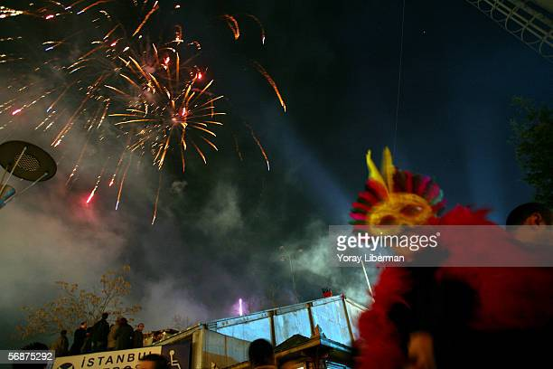 A crowd of people celebrate new year in Taksim Square on January 01 2006 in Istanbul Turkey Turks from all over Istanbul arrive to the main square in...